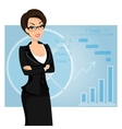 Business woman is wearing black suit on blue vector