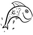 Fish jumping smiling character vector