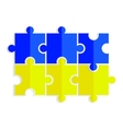 Yellow and blue puzzles in the form of a flag of u vector