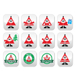 Santa claus icons merry christmas buttons vector