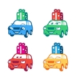 Collection of colored cartoon car with present box vector