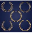 Set of golden laurel wreaths vector