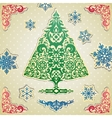 Scrapbooking card with stylized christmas tree vector