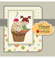 Birthday card with funny girl perched on cupcake vector