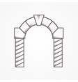 Flat line round arch icon vector