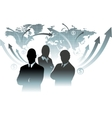 Businessman team in front of world map vector