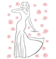 Nice woman in a long dress among roses vector