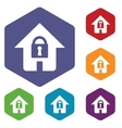Lock house rhombus icons vector