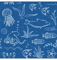 Sealife hand drawn seamless pattern vector