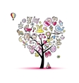Heart shape tree with toys for baby girl vector