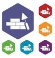 Building rhombus icons vector