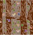 Seamless tree and bird vector