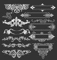 Vintage floral decorative border elements vector