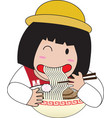 Little girl eat noodles vector