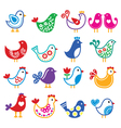 Folk art colorful birds icons set vector