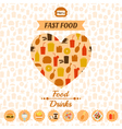 Set of fast food icons background labels vector