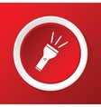 Flashlight icon on red vector