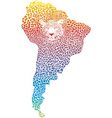 Abstract jaguar on the map of south america vector