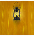 An old lamp on a wooden wall vector