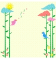 Retro background greeting card with birds vector