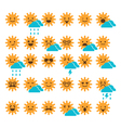 Set of suns with different emotions vector