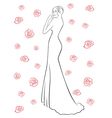 Woman in a long dress among roses vector