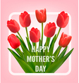Red tulips with happy mothers day gift card vector