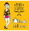 Hipster girl fashion geek character vector