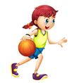 A young girl playing basketball vector