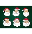 Funny hand drawn santa clauses set on dark green vector
