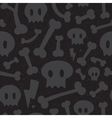 Skulls and bones black pattern vector