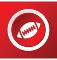 Rugby ball icon on red vector