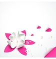 Pink paper flowers greeting card template vector