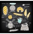 Set of vintage bakery icons retro design vector