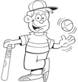 Cartoon boy with a baseball and bat vector