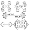 Set of barbells and dumbbell vector