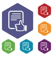 Like document rhombus icons vector