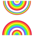 Greeting card with a set of rainbows and the sun vector
