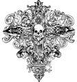 Cross skull illustration vector