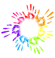 Colorful hands print vector