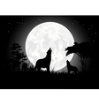 Wolf scream silhouette with giant moon background vector