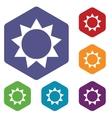 Sun rhombus icons vector