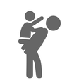 Father and baby play pictogram flat icon isolated vector