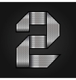 Number metal chrome ribbon - 2 - two vector