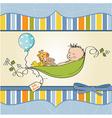 Little boy sleeping in a pea been baby vector