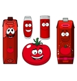 Cartoon tomato vegetable juice packs and glasses vector