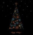 Fir tree from colored snowflakes vector
