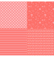 Set of seamless romantic pattern with hearts vector