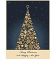 Tree from golden snowflakes vector
