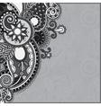 Grey vintage floral ornamental template on flower vector
